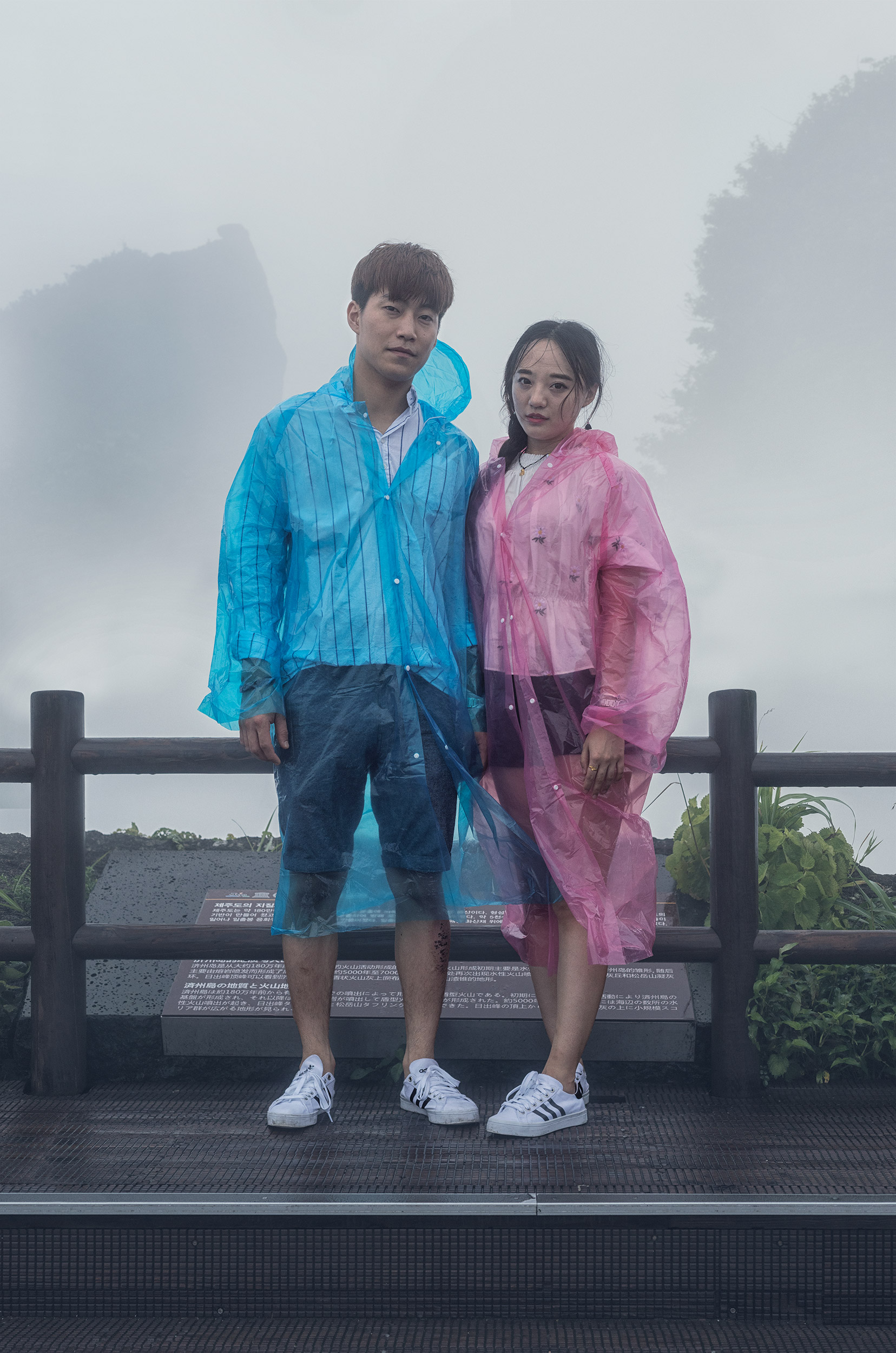 Couple in Plastic Raincoats, Seongsan Ilchulbong, Jeju-do